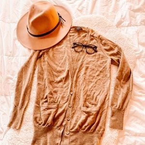 J.CREW TAN V-NECK CARDIGAN BUTTON UP SIZE SMALL